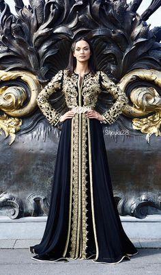 caftan haute couture noir
